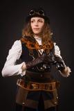 Steam punk girl with binocular Stock Photo