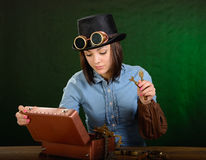 Steam punk girl-mechanic Royalty Free Stock Photo
