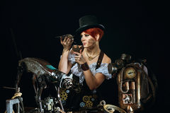 Steam-punk girl's portrait Stock Images