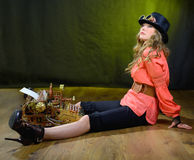 Steam punk girl with Typewriter. Stock Photography