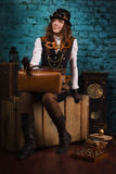 Steam punk girl Royalty Free Stock Photo