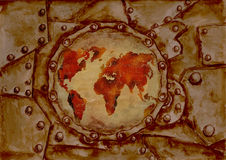 Steam punk  grunge world map. Background Royalty Free Stock Photos