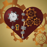 Steam Punk Heart. With gears, metal plates, a clock and a keyhole Royalty Free Stock Photography
