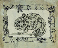 Steam punk mechanical chameleon  on grunge background Royalty Free Stock Photo