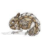Steam punk  mechanical chameleon on  white background Stock Photo