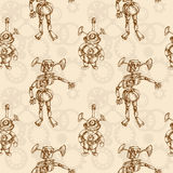 Steam punk mechanical robot seamless pattern Stock Photography