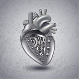 Steam punk metal heart with gears royalty free illustration