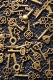 Steam punk old vintage metal keys background.  royalty free stock image