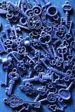 Steam punk old vintage metal keys background.  stock images