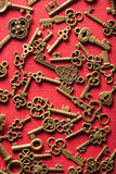 Steam punk old vintage metal keys background.  royalty free stock photo