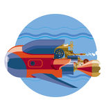 Steam-punk retro future submarine underwater. Submarine. Steam-punk retro future submarine underwater Stock Image