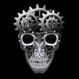 Steam punk skull. On black background vector illustration