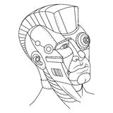 Steam punk style man head coloring book vector. Steam punk style man head. Robot girl. Coloring book vector illustration vector illustration