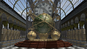 Steam Punk style time machine. A time machine in victorian style. an image of a world globe and clock in a baroque wrought interior vector illustration