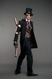 Steam-punk stylized caharacter. In vinage costume Stock Image