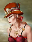 Steam Punk Woman in Red Royalty Free Stock Image