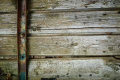 Steam punk wooden background. Of boards fastened with a metal belt royalty free stock image