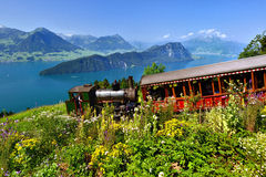 Steam railway in Switzerland Stock Image