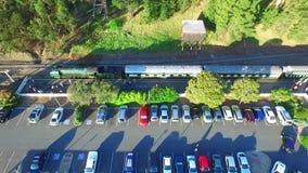 Steam Ranger Railway Train  Aerials. Aerial footage of classic historical railway vintage steam train locomotive SteamRanger (Steam Ranger) arriving Mount Barker stock footage