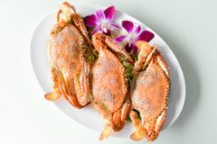 Steam red horse crabs. On a plate Stock Images