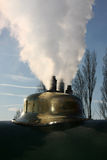 Steam release from brass dome. Stock Photography
