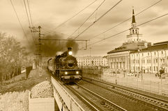 Steam retro train goes in the center of Moscow. Stock Images