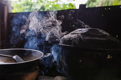 Steam from the rice cooker Royalty Free Stock Image