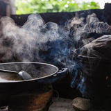Steam from the rice cooker Royalty Free Stock Images
