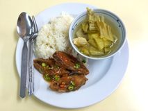 Steam rice with Fried fish, boiled vegetables Stock Photo