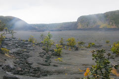 Steam rises from vents in the lava floor near Kilaua, Hawaii, US stock photography