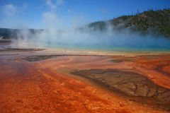 Steam rising. Colorful hot spring with rust colored algae Stock Photography