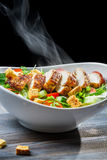 Steam rising from a freshly chicken Caesar salad Royalty Free Stock Images