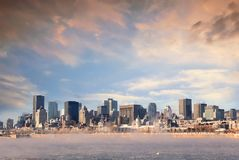 Downtown Montreal sunrise in winter Royalty Free Stock Photo