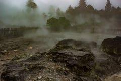 Steam rising from geothermal vents in Rotorua, NZ. Steam rising from geothermal vents at Whakarewarewa Living Maori Village in Rotorua, New Zealand, Aotearoa Royalty Free Stock Images