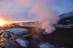 Steam is rising from hot spring Royalty Free Stock Photo