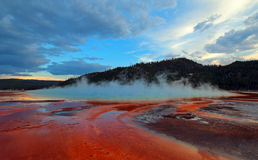 Steam rising off the Grand Prismatic Spring at sunset along the Firehole River in Yellowstone National Park in Wyoming Royalty Free Stock Images
