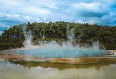 Champagne Pool at Wai-O-Tapu Thermal Wonderland, New Zealand royalty free stock images