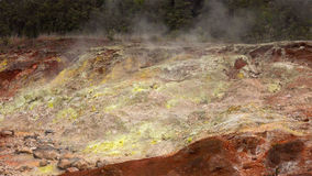 Steam Rising From Vents in Hawaii Volcanoes National Park. Steam rising from vents create colorful sulfur deposits in Hawaii Volcanoes National Park Royalty Free Stock Photos