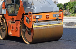 Steam roller at work Stock Images