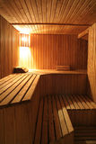 Steam room. Wooden steam room in sauna royalty free stock photos