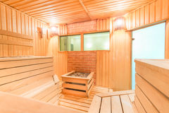 Steam room wooden Finnish sauna Royalty Free Stock Images