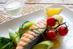 Steam salmon with side dish of vegetables Royalty Free Stock Photos