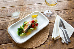 Steam salmon with side dish of vegetables Royalty Free Stock Photo