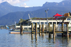 Steam ship at the pier, Chiemsee, Bavaria Stock Photography