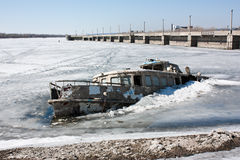 Steam-ship sunk in the ice Stock Images