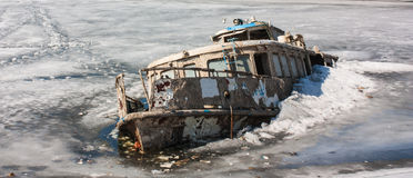 Steam-ship sunk in the ice Stock Photos