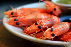 Steam shrimp. It's so big and fresh , Eat with seafood sauce Royalty Free Stock Image
