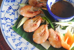 Steam shrimp with sauce Royalty Free Stock Images