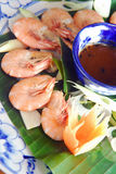 Steam shrimp with sauce Stock Image