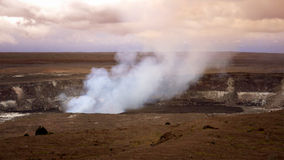 Steam and Smoke Rising From the Active Halemaumau Crater in Volc Royalty Free Stock Images